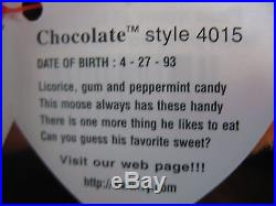 1993 Rare Original Chocolate the Moose Ty Beanie Baby P. V. C. Pellets Tag Errors