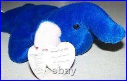 1993 Royal Blue Elephant Peanut (style 4062) Ty Beanie Babies PVC Pellets RARE
