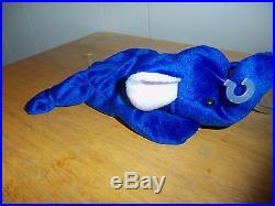 1995 Royal Blue Elephant Beanie Baby PEANUT Very RARE See Description