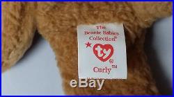 1996 Ty Beanie Baby Curly bear Rare hang tag Errors