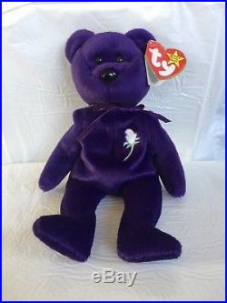 a6c9dc1fc8a 1997 Ty Beanie Baby PRINCESS the Diana Bear RARE   RETIRED with ERROR