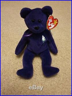 1st Edition, Ultra Rare 1997 Ty Beanie Baby Bear Princess Diana PVC Pellets