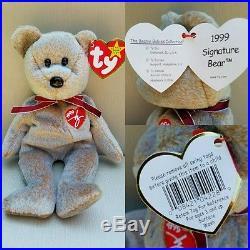 6 Super RARE Beanie Babies Peace Valentino Valentina Millenium Erin Signature