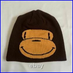 A BATHING APE BAPE BABY MILO Beanie knit hat monkey brown rare