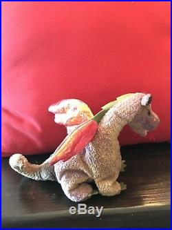 Authentic and Rare Ty Beanie Baby Scorch Dragon 1998