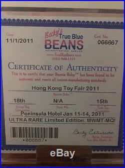 Authenticated 2011 Hong Kong Toy Fair Bear MWMT MQ Ty Beanie Baby Rare
