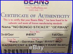 Authenticated 3/1 GERMAN NANA (NO BONGO) MWMT MQ Extremely Rare Ty Beanie Baby