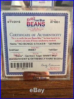 Authenticated 3rd/1st Gen NANA (GERMAN) MWMT MQ Rare Ty Beanie Baby