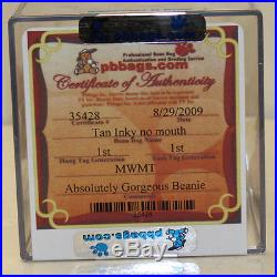 Authenticated Inky Tan (Ultra Rare No mouth) MWMT 1st/1st gen Ty Beanie AP 1