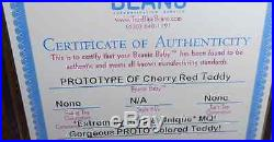Authenticated MQ! TY PROTOTYPE OLD FACE CHERRY RED TEDDY Extremely Rare & Unique