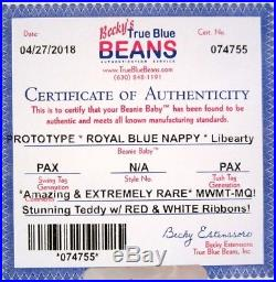 Authenticated PROTOTYPE Ty LIBEARTY with Alt. ROYAL BLUE NAPPY Fabric ULTRA RARE