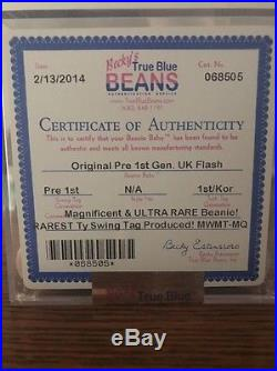 Authenticated Pre 1st Gen Flash MWMT MQ Ty Beanie Baby Rare