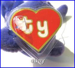 Authenticated Ty Beanie 1st Gen Old Face VIOLET Teddy MWMT MQ Rare & Magnificent