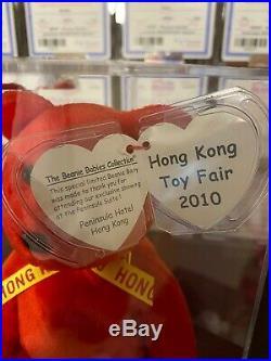 Authenticated Ty Beanie Baby 2010 Hong Kong Toy Fair Bear Mwmt Mq Ultra Rare