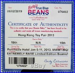 Authenticated Ty Beanie Baby 2013 HONG KONG TOY FAIR Teddy MWMT MQ Ultra Rare