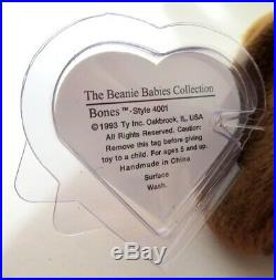 Authenticated Ty Beanie Baby CANADIAN 1st Gen BONES So Rare & Pristine MWMT MQ