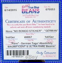 Authenticated Ty Beanie GERMAN 3rd / 1st Gen NANA MWMT MQ Magnificent & Rare
