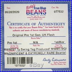 Authenticated Ty Beanie Korean PRE 1st Gen FLASH Ultra Rare & Pristine MWMT MQ