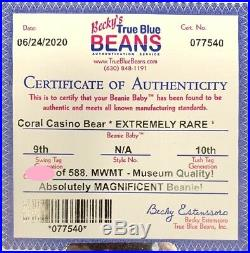 Authenticated Ty Warner Signed Beanie Baby CORAL CASINO Teddy MWMT MQ So Rare