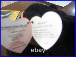BLACKIE the BEAR Rare Ty Beanie Baby withTag Errors 1993/1994 PVC
