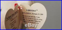 Beanie Baby RARE VALENTINO + Swing Tag Errors + PVC + BROWN NOSE + VALENTINA