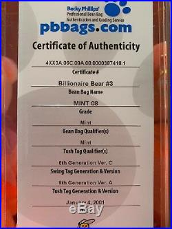 Billionaire 3 Beanie Baby Bear #379, RARE Signed, Certificate Of Authenticity