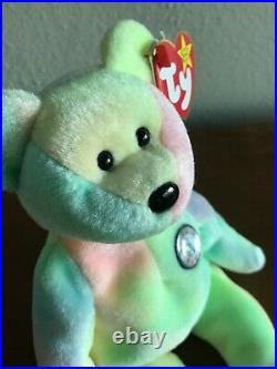 Birthday Bear BB Bear TY Beanie Baby 1999 Original, MWMT, RARE with ERRORS