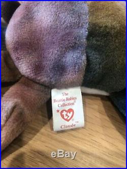 Claude The Crab Ty Beanie Baby with Rare Tag Errors Fantastic Condition