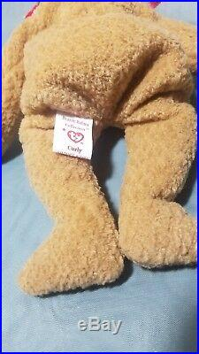 EXTREMELY RARE Ty Beanie Baby'Curly' Retired Bear with MANY Errors