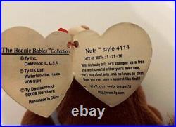 Extreme Rare Ty Original Beanie Baby Nut 1996 Style # 4114, Errors, Extra Whisker