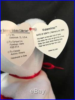Extremely Rare! VALENTINO 1993 TY Beanie Baby with Swing Tag Errors PVC