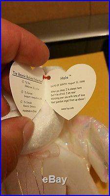 Halo Bear ORIGINAL TY Beanie Baby withP. E. Pellets Rare Looped tush tag