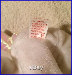 Halo bear beanie baby TY with VERY RARE White Star, Error, brown nose, etc