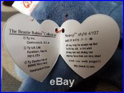 LAST CHANCE! Rare Scoop Beanie Baby 1996 #4107 PVC Pellets, No Red Stamp