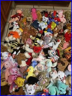 Lot of 415+ Original TY Beanie Babies All with Tags Some Rare & Retired