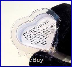 MWMT MQ Authenticated TY beanie baby Blackie 1st gen True Blue Beans Very Rare
