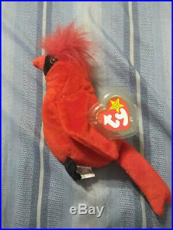 Mac' The Cardinal Retired Ty Beanie Baby Very Rare Vintage 1998! Tag Errors