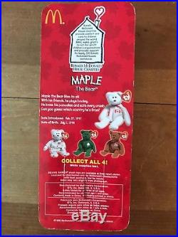 McDonalds Maple The Bear RARE Retired McDonalds Ty Beanie Baby Tag Errors NIB