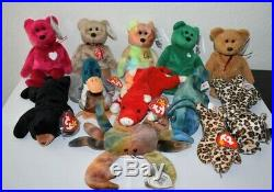 Mega Set of EXTREMELY RARE Beanie Babies 1995, 1996, 1998, 1999 with ERRORS