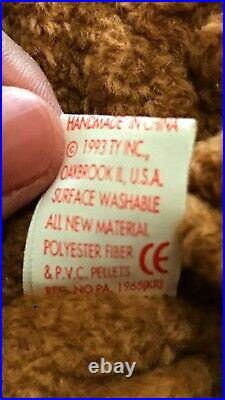 NEW Rare Retired TY Beanie Baby'CURLY' The Bear 04-12-96 with Many Errors WOW