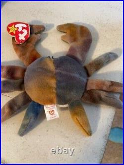 Original Rare Retired Ty Beanie Baby Style 4083 Crab Claude PVC Pellets NearMINT
