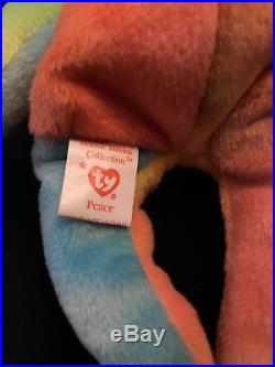 Peace (1996) Ty BeanieBaby Bear. PVC. Authenticated/Super-Rare/Retired