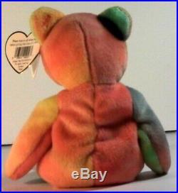 Peace Beanie Baby Bear Rare Errors Deutschland Style 4053 White Wash Colors