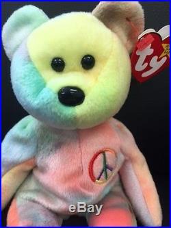 Peace Beanie Baby Rare Peace Bear Original collectible No Tag Errors