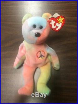 Peace Beanie Baby TY Peace the Bear Rare tag errors! Vintage 1996