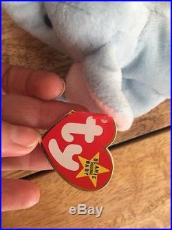 Peanut Beanie Baby Light Blue- RARE Lots Of Errors On Hang Tag + Tush Tag PVC