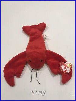 Pinchers the Lobster, Ty Beanie Baby with Errors. MWMT. Original. RARE