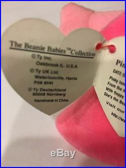 Pinky The Flamingo Ty Beanie Baby Style 4072. Rare, MWMT, P. V. C. Pellets