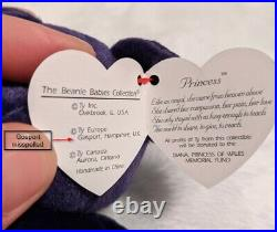 Princess Diana Beanie Baby 1st edition 1997 with rare tag error MWMT. See Desc