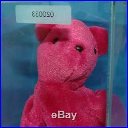 eebb0d231b5 Prototype Teddy OF old face Magenta Authenticated Ultra Rare Ty Beanie Baby